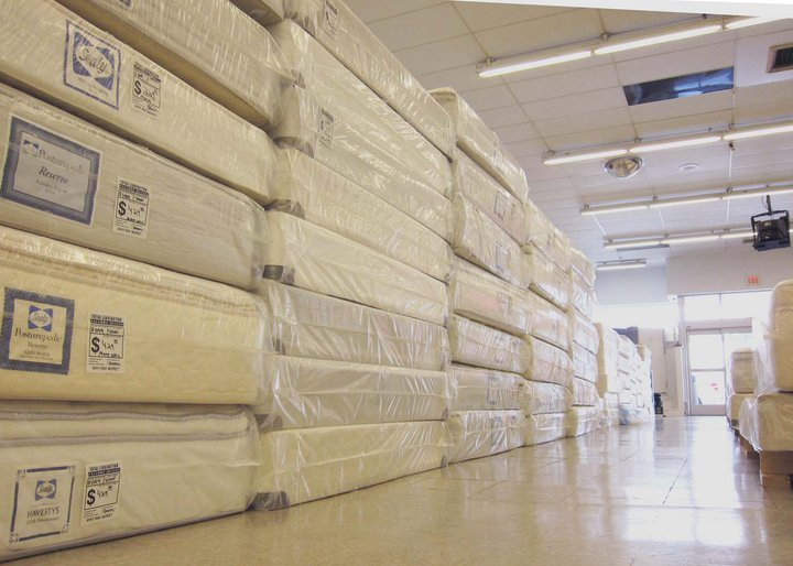Photo of a mattress warehouse - stacks of mattresses.