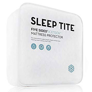 This is the Malouf Sleep Tite IceTech Mattress Protector.