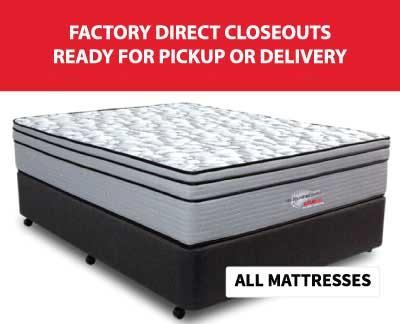 Graphic showing how SOS Mattress has factory direct closeouts. Purchasing made convenient with lowest cost and comfort warranty.